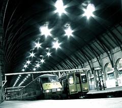 Light engines (Rich007) Tags: uk greatbritain morning light england blackandwhite bw london night train blackwhite unitedkingdom platform railway gb kingscross gner class91