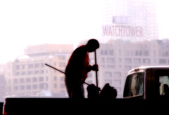 JEHOVAH and the CREW (SkyShaper) Tags: nyc newyorkcity building brooklyn truck manhattan pickuptruck vest silhoutte broom watchtower sweepers jehovahswitness skyshaper
