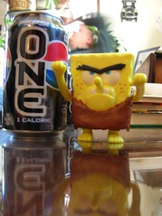 Neanderthal SpongeBob flies into a fit of rage because there are no Coke products in the house.