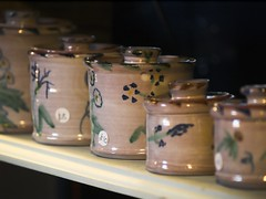 Some Lizzie Prudence jars (Hindolbittern) Tags: christmas uk england art english rural ceramic hall community village crafts norfolk craft christmasmarket lizzie jar pottery prudence hindolveston craftsinaction