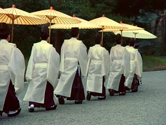 Shinto Priests Marching at Meiji Temple Shrine