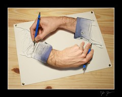 Drawing Hands (Josh Sommers) Tags: art photoshop wow hands photoshopped escher homage allrightsreserved drawinghands mcescher weekendamerica mywinners abigfave flickrplatinum copyrightjoshsommers2007
