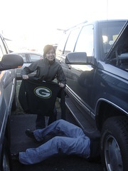Lindsey, reminding us that we were in Green Bay, and her dad (j_130_q) Tags: packers greenbay