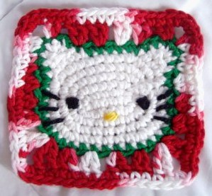 Christmas Hello Kitty Granny Square