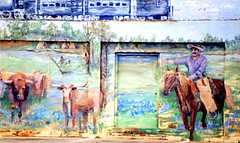 Historic Mural--The Vaquero--The Train