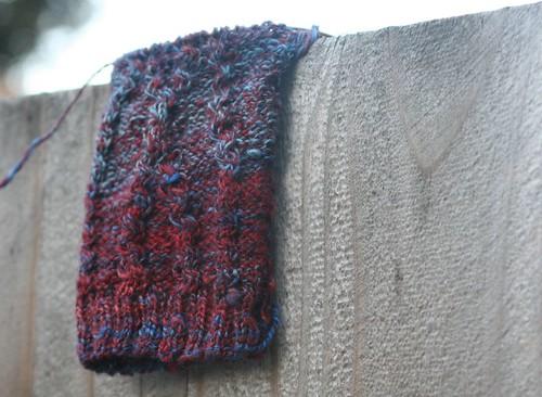 Sock in Fiber Fiend Merino/Tencel colorway: Fire & Ice