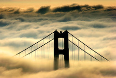 Golden Gate Bridge in the Fog (Rob Kroenert) Tags: sanfrancisco california morning bridge usa tower fog clouds sunrise golden bay gate san francisco marin goldengatebridge headlands