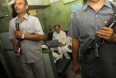 Abu Asim Azmi, MP (Rajya Sabha) travels on local train (Soumik Kar) Tags: india october trains bombay infrastructure maharashtra mumbai localtrains bodyguards memberofparliament