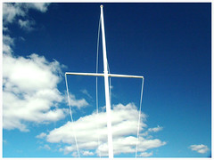 Flag pole (Dorothy Jarry) Tags: trip blue sky cloud love beach nature beautiful fun happy fly pretty alone cross natural earth flag awesome rope pole tall lov