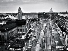 Helsinki by night (Sameli) Tags: city bw white black church station night suomi finland blackwhite helsinki kirkko kirkot
