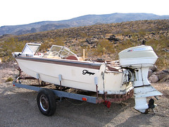 Side view of boat (ericajloh) Tags: route66 abandonedboat mohavedesert roadtrip2006