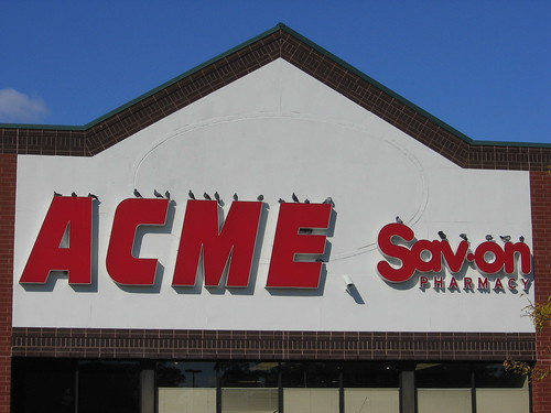 Pigeons on top of the letters of the Acme sign 1