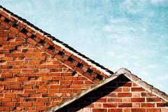 (catherine buca) Tags: roof sky orange painterly bricks aquamarine angles utatainhalf