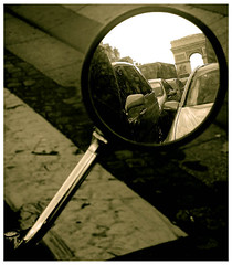 Motorcycle Diaries (* Yaya) Tags: paris france reflection champselysees mirror motorcycle arcdetriomphe fiveflickrfavs