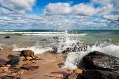 Crashing Wave (James Marvin Phelps) Tags: park lake beach rocks shots michigan great lakes pictured superior upper national lakeshore peninsula lakesuperior outstanding picturedrocksnationallakeshore ausablepoint crashingwave outstandingshots mandj98 scenicmichigan savethewildup jmpphotography jamesmarvinphelps virtualjourney algercountymichigan