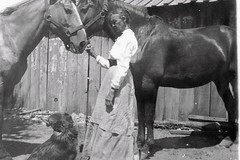 Susie Durnett (meagain625) Tags: old horses bw woman dog barn texas kodak postcard susie harness 19041918 durnett bvt1