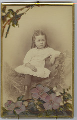 Homemade Memorial Card, Anonymous Young Girl (mrwaterslide) Tags: old vintage memorial sad cabinet antique homemade oldphoto vernacular pansies postmortem cabinetcard afterdeath momentomori affecting memorialcard
