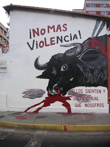 An anti-bullfighting poster in Spain