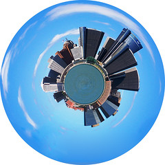 Planet Detroit (paulhitz) Tags: world blue summer sky autostitch panorama cloud white distortion ontario color clouds photoshop river paul photo globe earth michigan detroit favorites blues 2006 michiganfavorites filter sphere round planet windsor marble polar manip perfection hitz paulhitz planetdetroit polardistortionfilter polardistortion