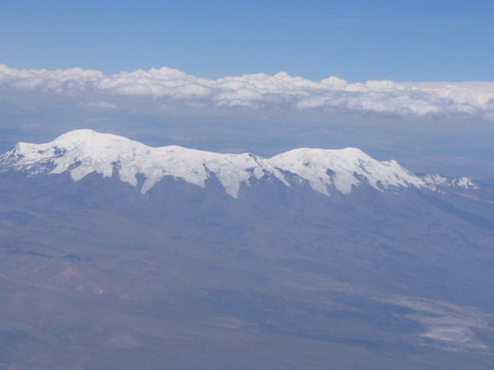 Snow topped mountains in the Andes
