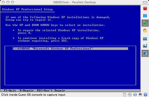 Repairing an existing installation of Windows XP