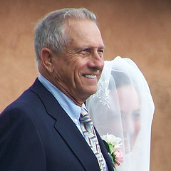 Wedding: Bride and Grandfather, Albuquerque NM (Laura Dunn-Mark) Tags: wedding portrait woman usa man newmexico southwest smile bride veil unitedstates grandfather ceremony marriage albuquerque 2006 granddaughter procession lauradunnmark