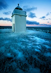 Winter ... (asmundur) Tags: november sunset lighthouse cold iceland frost freezing 2006 keflavik frosted vatnsnesviti