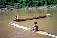 Bamboo rafts on Nam Ou River Laos