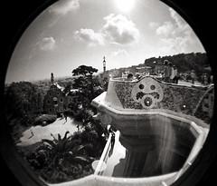 Parc Gull (-Antoine-) Tags: barcelona park parque bw film analog 35mm lomo spain 2006 nb fisheye espana analogue guell espagne parc barcelone gell impressedbeauty antoinerouleau