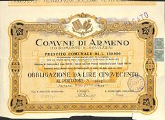 COMUNE DI ARMENO (scripofilia) Tags: 1931 armeno comunediarmeno obbligazioni