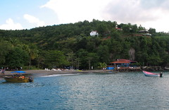A St Lucia beach – can you see the name of the water taxi?