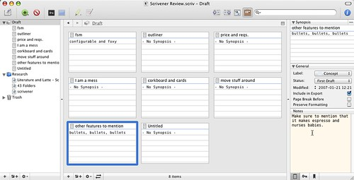 Scrivener - Corkboard view