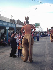 Kangaroo men at the running of the sheep in Boorowa