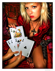 Luna - Queen of Clubs (merkley???) Tags: sanfrancisco red portrait fashion photoshop portraits cards saturated hipsters artist cross luna queen portraiture artists saturation clubs glam safe retouched airbrush royalflush queenofclubs chicksset djluna musicish