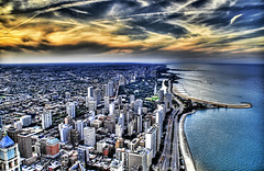 The Great Lake of Chicago (Stuck in Customs) Tags: city sunset usa lake chicago streets building tower architecture night america work buildings grid lights evening office illinois nikon colorful downtown cityscape loop sears searstower unitedstatesofamerica great towers d2x officebuilding business theloop johnhancock hdr greatlake magnificentmile lucisart mykindoftown nikonstunninggallery d2xs