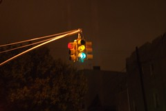 Light caught mid-change (Ian Meyer) Tags: new york rain brooklyn trafficlight stoplight