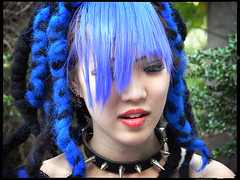Feeling-Blue (Danz in Tokyo) Tags: leica blue people color colour girl face japan japanese tokyo interestingness colorful asia purple cosplay harajuku  nippon  interestingness9 fz30 nozoom topv11 danz interestingness6 interestingness3 topv22 angkorsingle