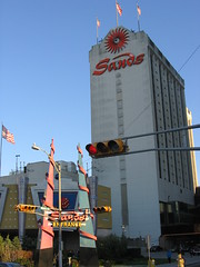 The Sands is scheduled to be closed on November 11, 2006 (iirraa) Tags: city sunset october flag flags casino atlantic american atlanticcity sands sandscasino