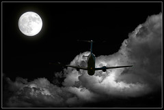 Destiny (sharply_done) Tags: moon storm silhouette night clouds plane private airplane corporate flying bravo flight aeroplane full destiny executive propeller sharplydone awesomephoto