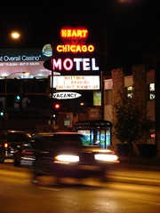 Come stay awhile. (JosephRPalmer Photography) Tags: road travel pink vacation chicago sign night neon heart lifestyle motel tourist journey arrive hospitality convenience chicagoist
