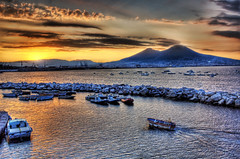 Fishing at Sunrise (Stuck in Customs) Tags: italy volcano fisherman nikon italia amalficoast d70 d2x pompeii napoli naples vesuvius hdr helluva nikonstunninggallery d2xs