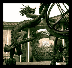 Dragon at the Museum (Peter Collingridge) Tags: china sculpture museum sepia published dragon shanghai explore   astrolabe chinesepod 5photosaday invitedto1group frhwofavs