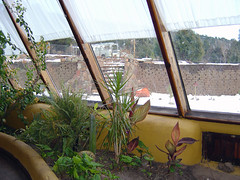 Earthship 2 (Lori Greig) Tags: windows snow newmexico green glass architecture solar structure environment domicile recycle thermal dement sustainable indigenous ecofriendly indoorplants earthship greenliving selfsufficient