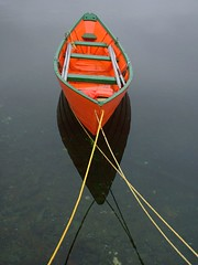 Dory (Mark Veitch) Tags: ocean orange reflection green water yellow newfoundland boat fishing flat rope calm atlantic tied dory attraction oars brigus