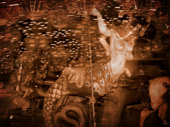Carousel of Our Dreams and Nightmares (Seeing Visions) Tags: blur sepia wisconsin manipulation carousel explore mermaid houseontherock springgreen 425onexplore8407