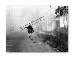 Social Climber (TooLoose-LeTrek) Tags: street bw fog detroit monotone worker ladder builder carpenter