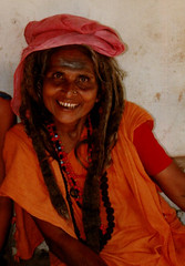 SMILEY SADDHU LADY (pickin pics) Tags: travel portrait people woman india holiday smile sadhu theface blueribbonwinner sadhvi 50millionmissing fiftymillionmissingwomen