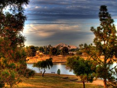 Sunset Glory (Videoal) Tags: trees arizona sky mountain lake clouds photoshop evening explore hdr camelbackmountain tempe kiwanispark tempeaz photomatix