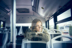 (lexias) Tags: portrait fashion feeling bus autobús blue girl teenager exterior lonjedo transport vehicle urban young people love