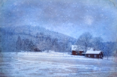 Winter scenery (Bessula) Tags: bessula nature landscape winter scenery snow field moon sky hill forest trees evening house shed hovel shanty texture scene sweden country blue stars